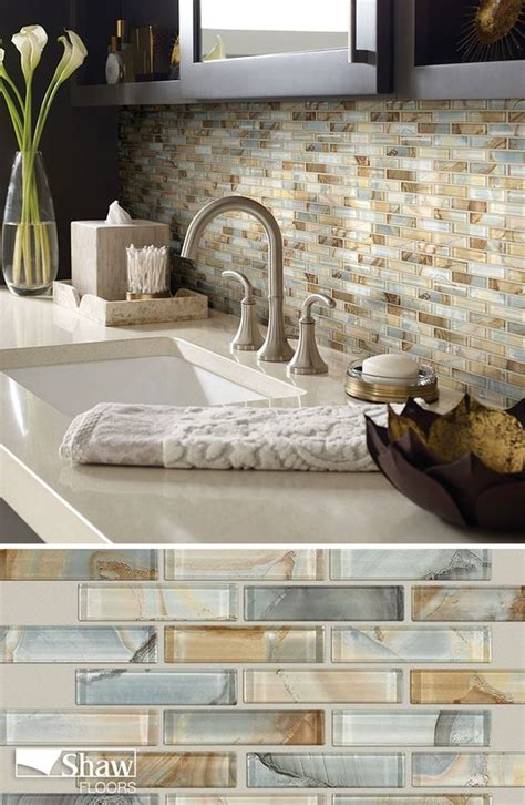 mercury glass tile in the color gilt completes the look of