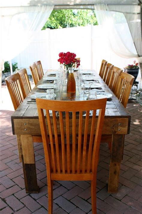 outdoor upcycled dining table  pallets