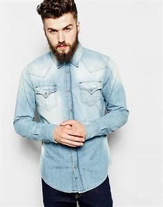 True religion Denim Shirt Jake Slim Fit Western Light Indigo in Blue for Men | Lyst