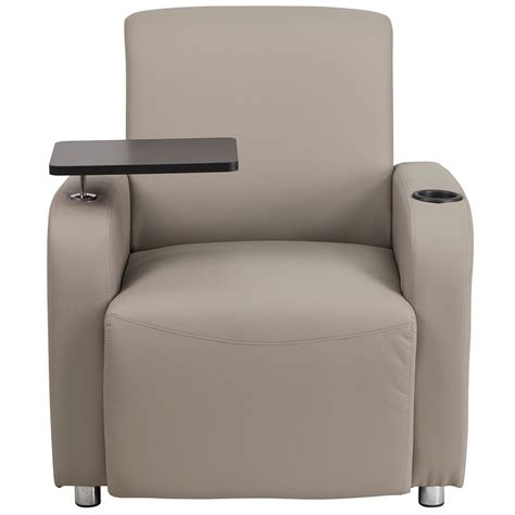 gray leather guest chair with tablet arm chrome legs and