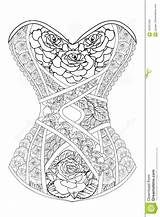 Corset Coloring Adults Roses Illustration Line Vector Therapy sketch template