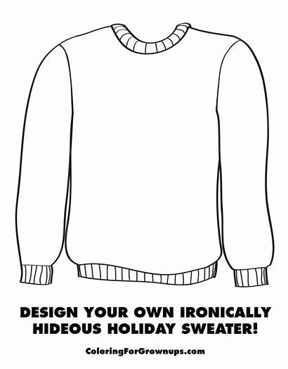 Coloring Sweater Ugly Christmas Pages Holiday Template