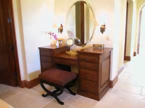 wooden makeup vanity furniture set with wall sconce