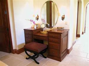 Custom Oak Wood Makeup Desk Design With Drawer And Oval