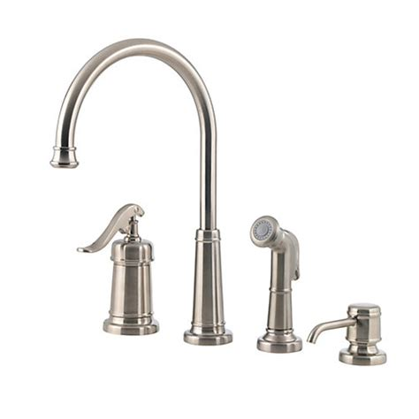 four kitchen faucet pfister gt26 4ypk ashfield 4 hole kitchen faucet with sidespray and matching soap dispenser