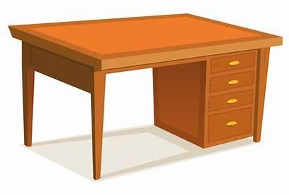 Desk Cartoon Office Clipart Table Vector Furniture