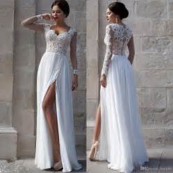 dresses for formal wedding white wedding dresses 2015 lace bridal gowns applique sheer illusion sleeves split