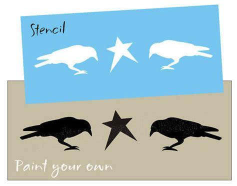country primitive stencil crow bird star signs blocks