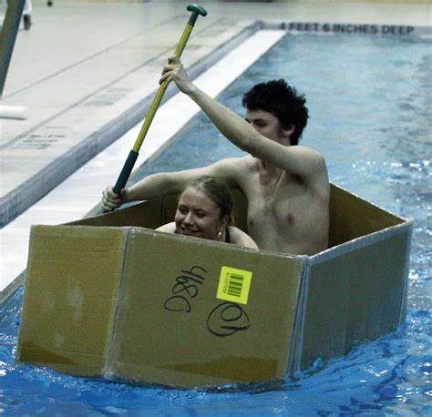 Cardboard Boat Test by Cardboard Boat Offers West Valley Students Lessons In