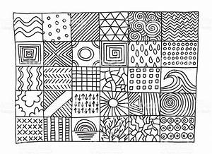 Set Of Simple Patterns Drawing stock vector art 641084572 ...