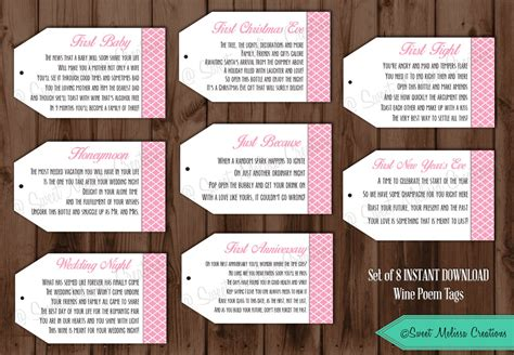 Wine Poem Bridal Shower - instant pink 1st wine poem tags bridal showers