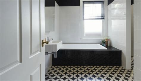 bathroom ideas white tile bathrooms with black and white patterned floor tiles