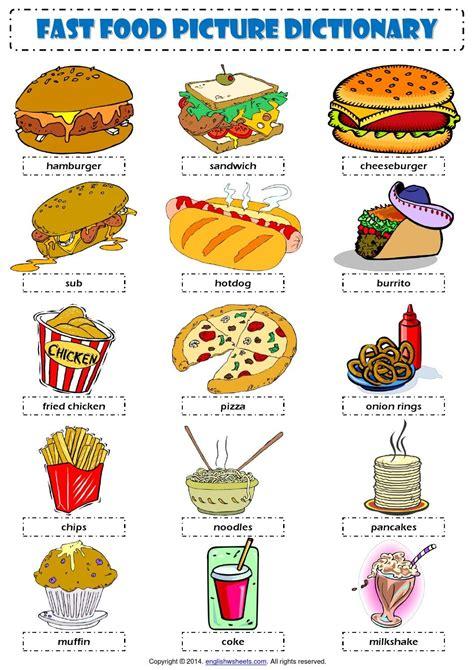 English Vocabulary  Fast Food   English  Vocabulary Flashcards  Pinterest English