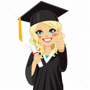 Blonde Graduation Girl vector illustration © Kakigori ...