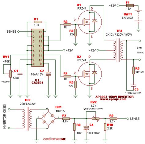 sg3524 dc ac inverter projesi 250w 5000w elektronik devreler projeler