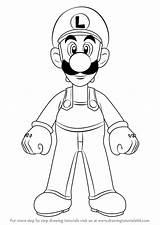 Draw Luigi Mario Drawing Step Learn Bros Cartoon Character Drawingtutorials101 Drawings Kleurplaat Characters Colorear Romper Tutorials Calendar sketch template