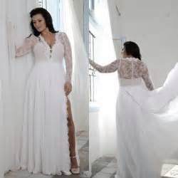 plus size bohemian wedding dresses cheap plus size wedding dresses with split sheath plunging v neck illusion lace sleeves