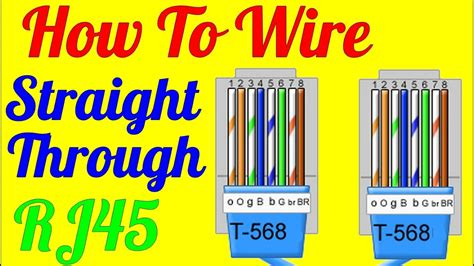 how to make straight through cable rj45 cat 5 5e 6 wiring diagram youtube