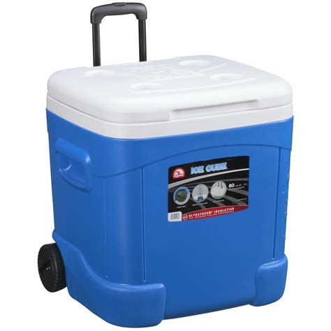 fan with ice compartment igloo ice cube 60qt 57l wheeled ice cool box mobile