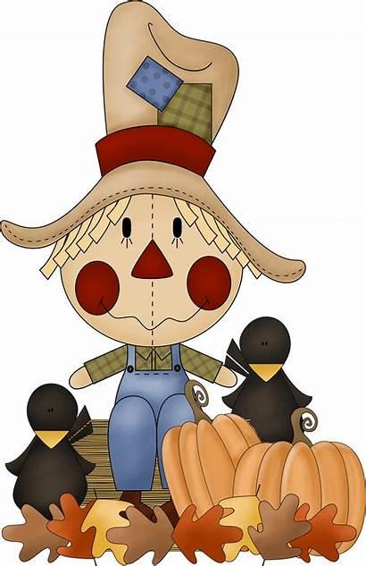Scarecrow Fall Clipart Halloween Cartoon Thanksgiving Clip