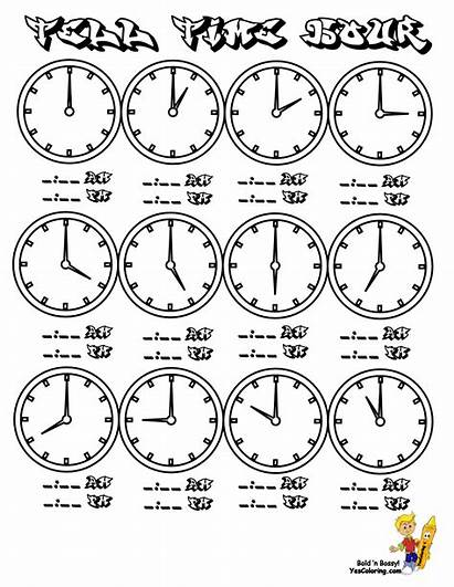 Clock Coloring Tell Pages Printable Hour Worksheets