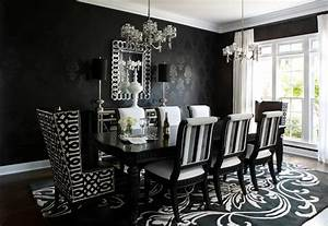 Contemporary black and white wallpaper dining room ...