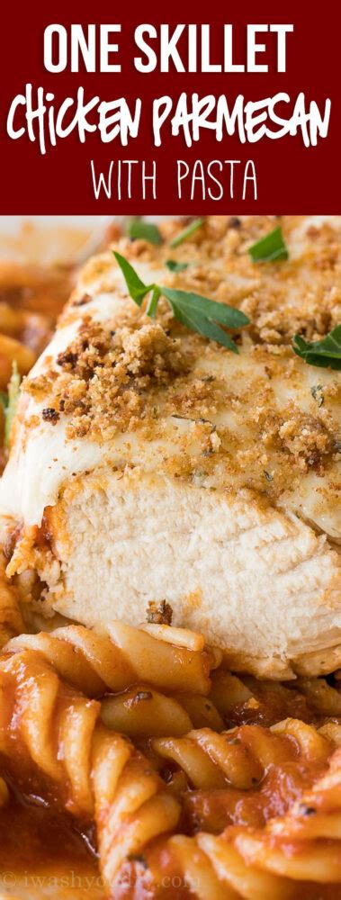 I have made chicken parmesan using the most popular recipe from this site, but this recipe blew the other out of the park! One Skillet Chicken Parmesan Pasta | I Wash You Dry