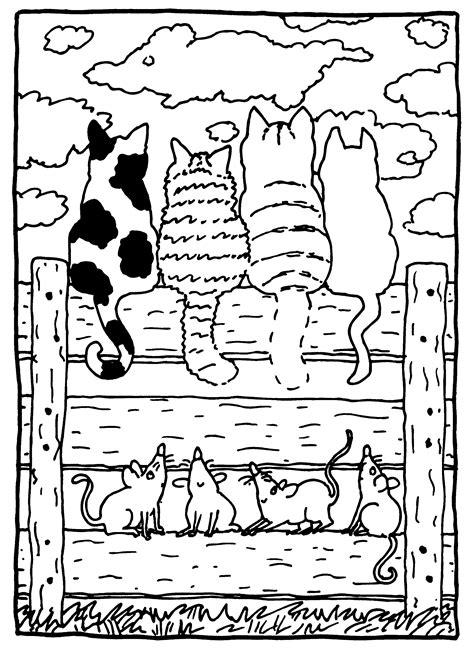 Dikie Dik Lente Kleurplaat by Dikkie Dik Met De Katten Op Het Hek Dikkie Dik