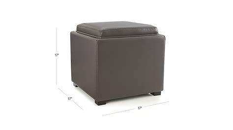 crate and barrel stow storage ottoman stow smoke 17 quot leather storage ottoman crate and barrel