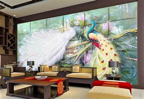 customize  mural wallpaper peacock mural  wall paper