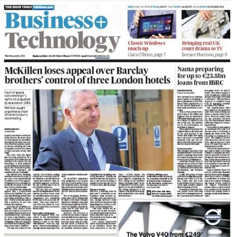 Thursday Newspaper Review  Irish Business News And