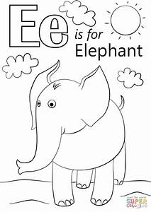 Get This Letter E Coloring Pages Elephant Bfm02