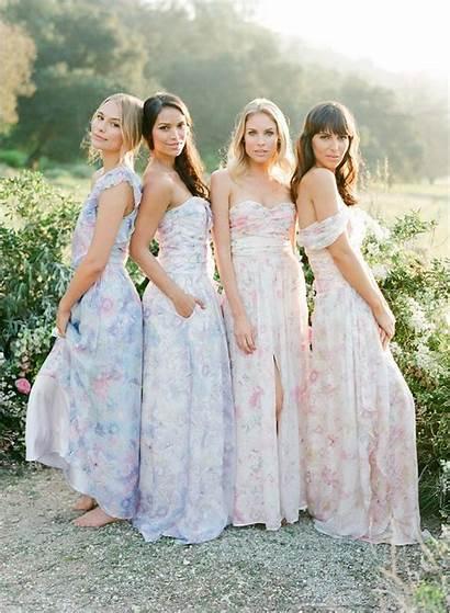Floral Dresses Bridesmaids Pink Watercolor Pretty Lavender