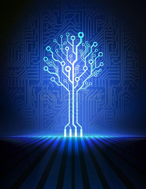 Circuit Board Tree Vector Background Stock Image