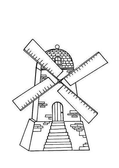 Windmills Coloring Pages Mill Windmill Flour Printable