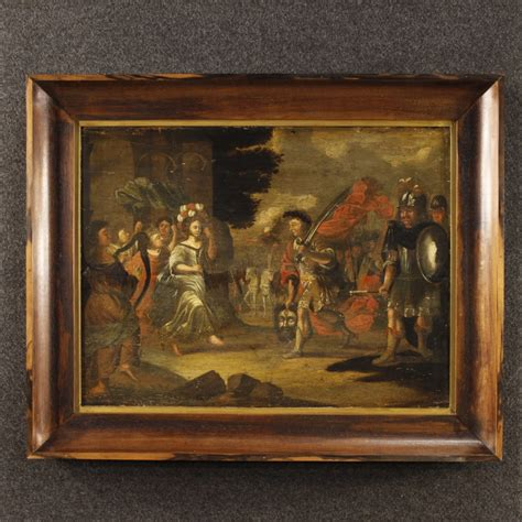 antique flemish painting davids triumph    century