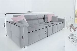 Couch Sitzhöhe 50 Cm : elegantes big sofa heritage grau inkl kissen und verstellbaren kopfst tzen riess ~ Bigdaddyawards.com Haus und Dekorationen
