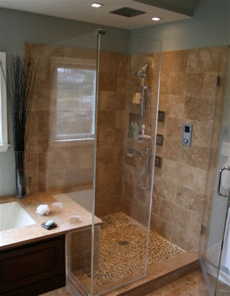 stand up shower tile and river rock bathrooms