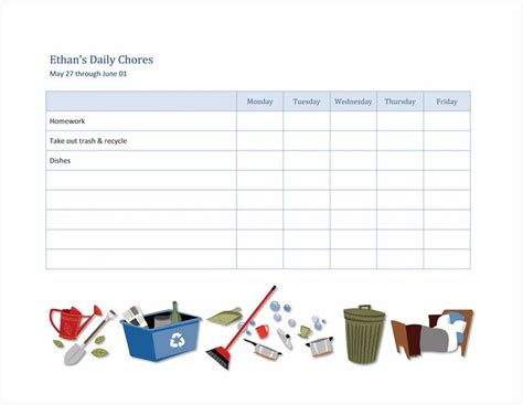 chore checklist  kids chore list  kids