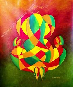 FOR ART LOVERS: Lord Ganesha Ji Oil Painting Abstract III