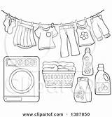 Laundry Washing Clothes Line Basket Machine Drying Illustration Air Clipart Detergent Lineart Clothesline Vector Royalty Clip Pages Template Visekart Sketch sketch template
