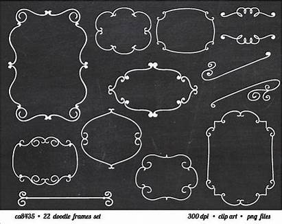 Clip Chalkboard Frame Doodle Clipart Curly Scrapbooking