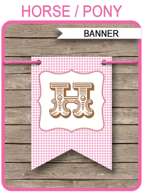 horse  pony party banner template birthday banner
