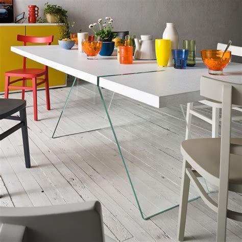 tisch aus glas alceo fester designer tisch 160x90 cm mit beinen aus glas platte aus verschiedenen