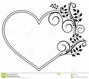 Cadre Deco Noir Et Blanc : cadre noir et blanc en forme de coeur avec les silhouettes florales rast illustration stock ~ Melissatoandfro.com Idées de Décoration