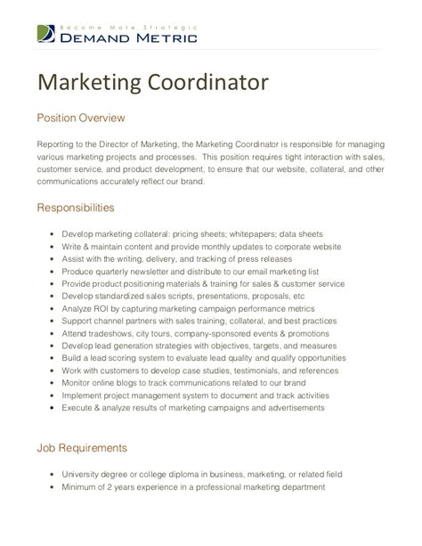 Recruiting Coordinator Description Sle by Marketing Assistant Description Marketing Coordinator 28 Images Sle Marketing Description 9