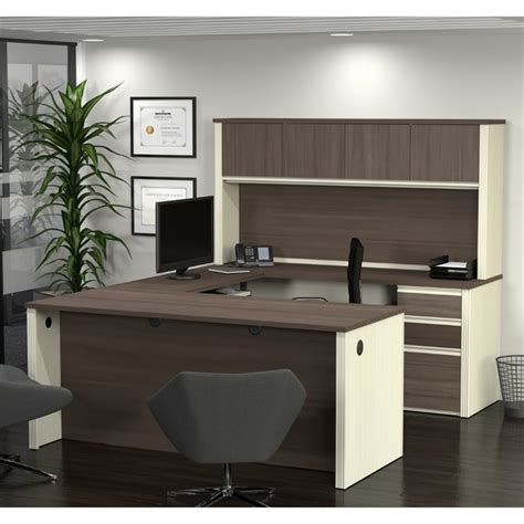 bestar innova u desk with hutch in white and antigua bestar prestige plus u desk with hutch in white chocolate