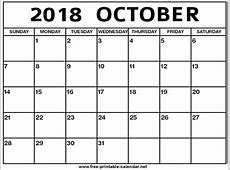 October 2018 Calendar printable yearly calendar