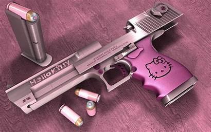 Kitty Hello Gun Pink Wallpapers Desktop Guns