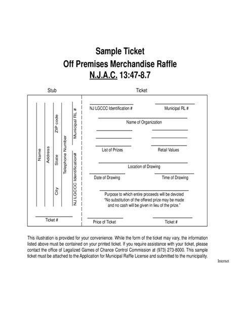 sample template  raffle ticket